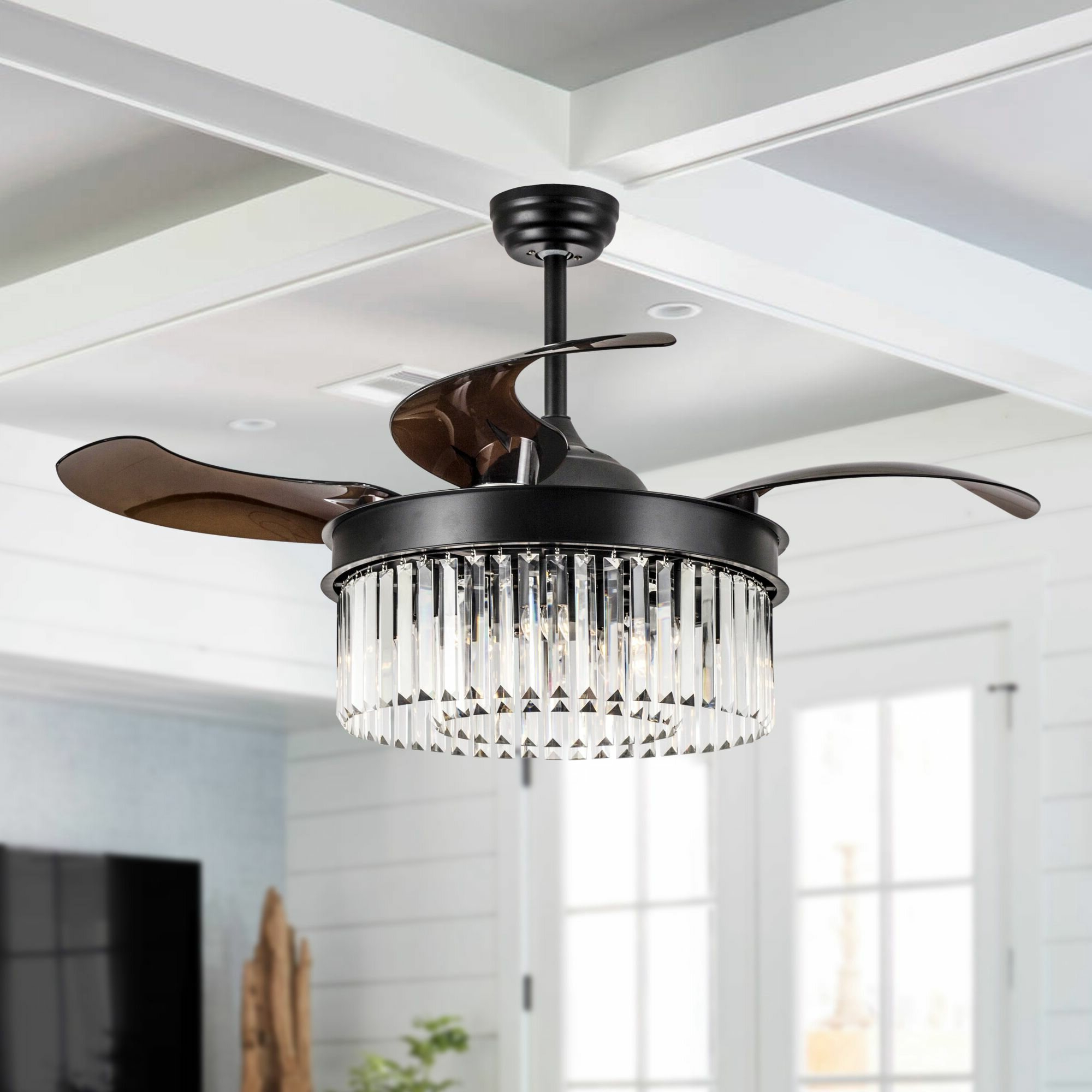 2019 Schulze Crystal Retractable 4 Blade Ceiling Fan With Remote, Light Kit  Included Throughout Servantes Retractable 4 Blade Ceiling Fans With Remote (View 2 of 20)