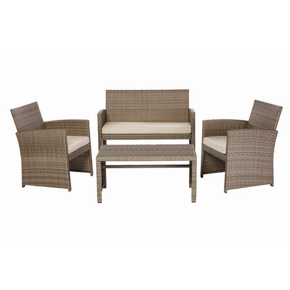 2019 Seaham Patio Sectionals With Cushions In Park Trail Grey 4 Piece Wicker Patio Conversation Set With Light Brown Cushions (Gallery 20 of 20)