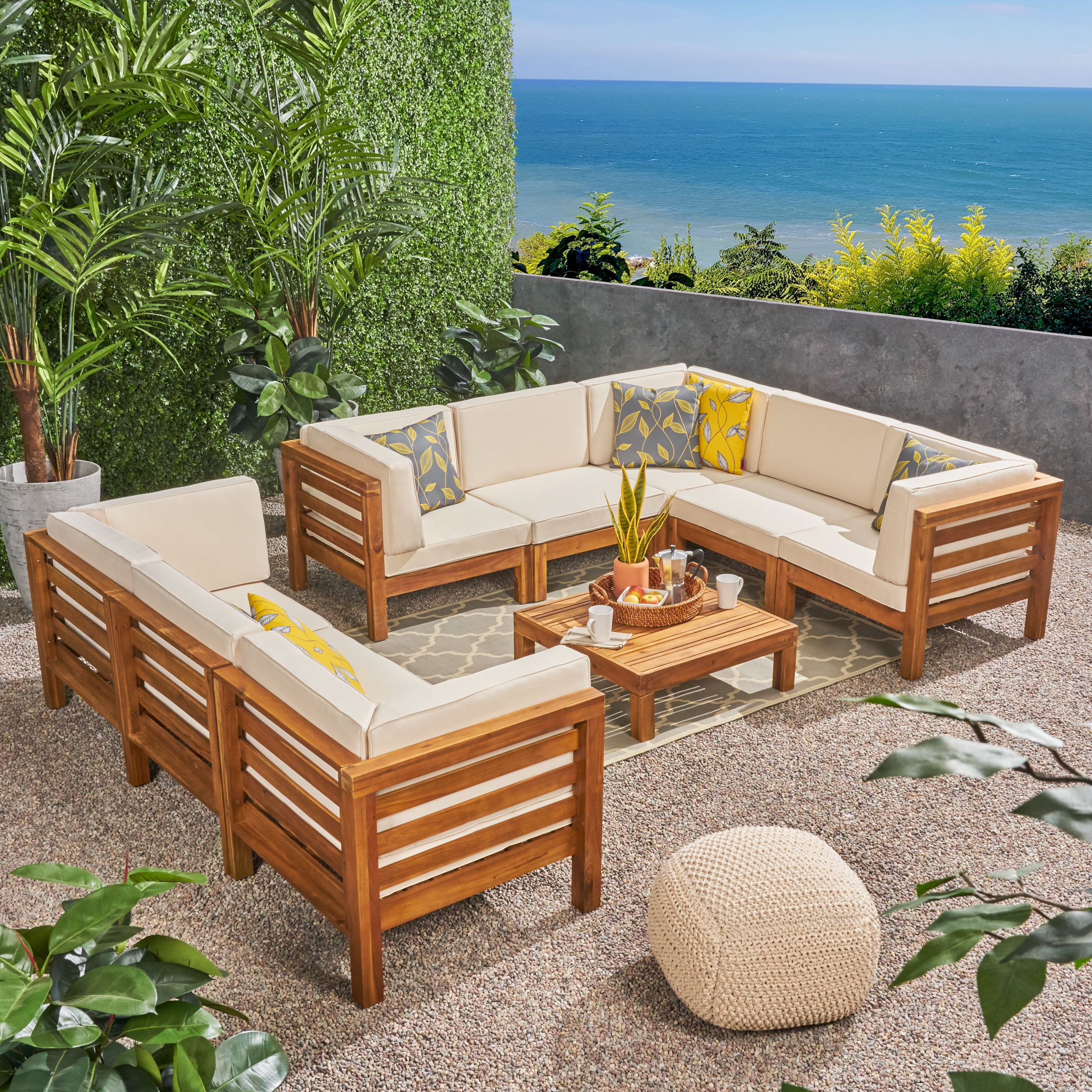2019 Seaham Patio Sectionals With Cushions In Seaham 9 Piece Teak Sectional Seating Group With Cushions (View 2 of 20)