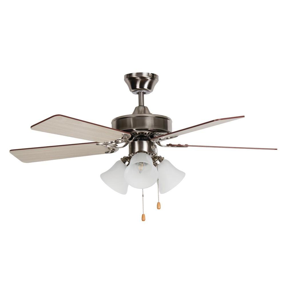 2019 Southern Breeze 42 In. Indoor Stainless Steel Standard Mount Ceiling Fan With Light Kit Regarding Southern Breeze 5 Blade Ceiling Fans (Gallery 7 of 20)