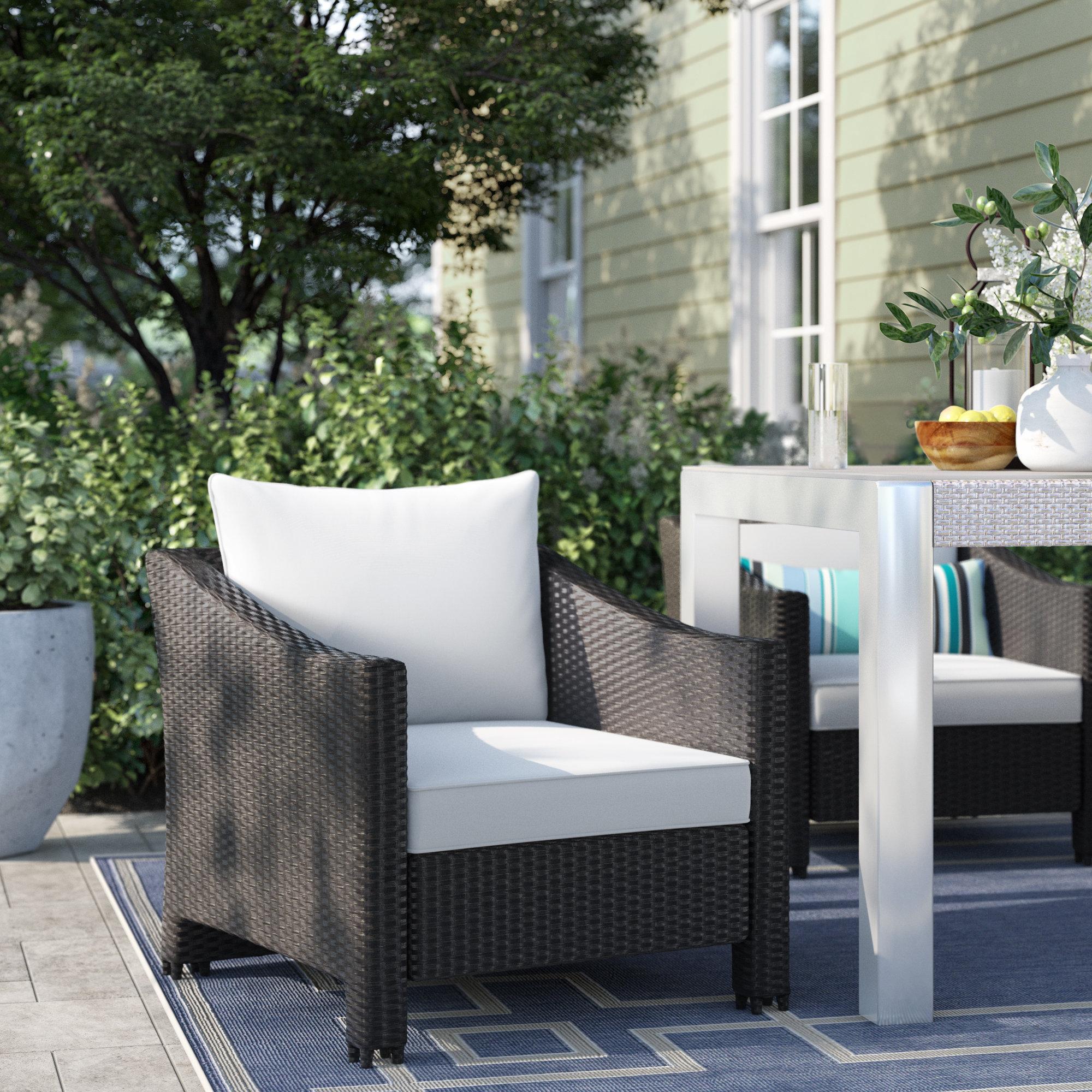 2019 Stapleton Wicker Resin Patio Sofas With Cushions Within Portola Wicker Patio Chair With Cushions (View 1 of 20)