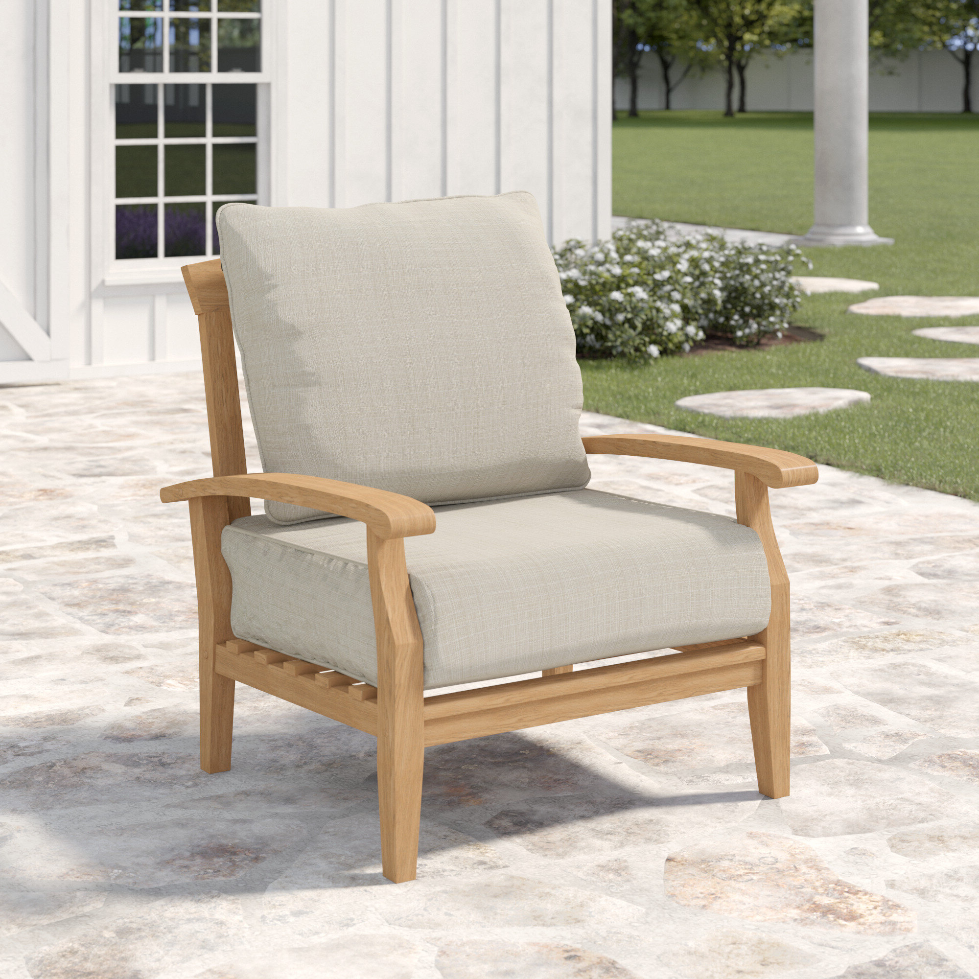 2019 Summerton Teak Patio Chair With Cushions Within Montford Teak Patio Sofas With Cushions (View 1 of 20)