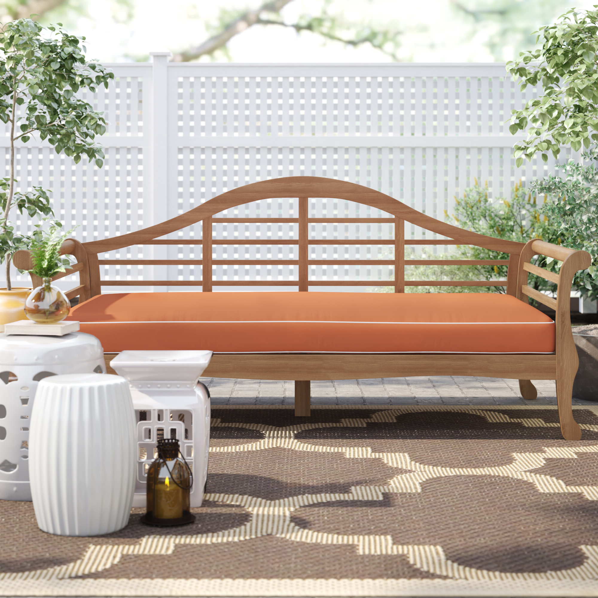 2019 Summerton Teak Patio Sofa With Cushions Intended For Beal Patio Daybeds With Cushions (View 1 of 25)