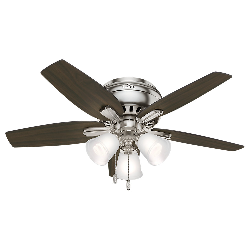 """2020 42"""" Newsome Low Profile 5 Blade Ceiling Fan, Light Kit Included For Builder Elite 5 Blade Ceiling Fans (Gallery 8 of 20)"""
