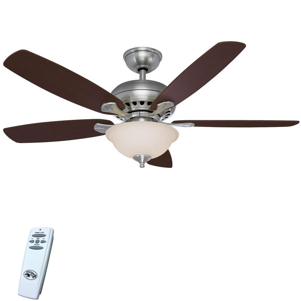 2020 5 Blade Ceiling Fans With Remote In Details About Ceiling Fan Light Kit Remote Control Cherry 5 Blades Brushed Nickel Led 52 In. (Gallery 9 of 20)