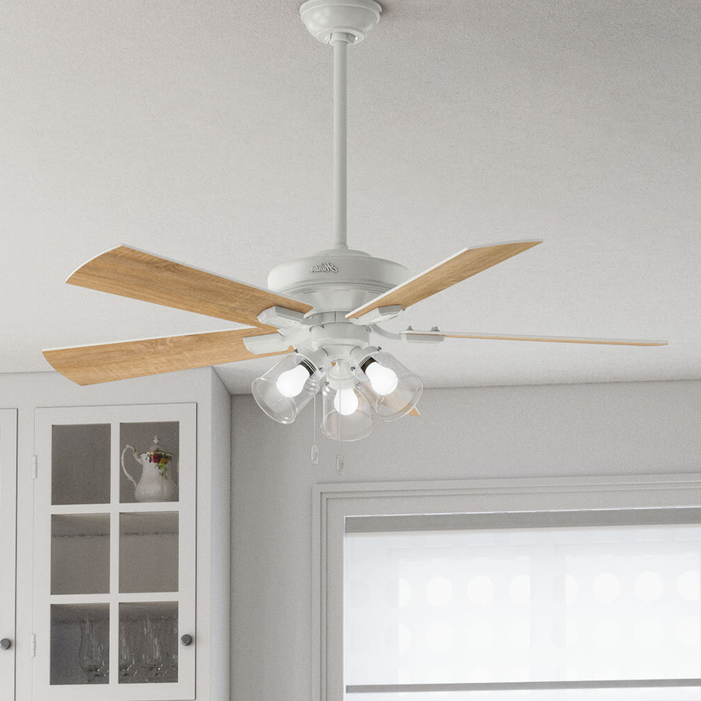 "2020 52"" Crestfield 5 Blade Ceiling Fan, Light Kit Included Intended For Crestfield 5 Blade Ceiling Fans (Gallery 6 of 20)"