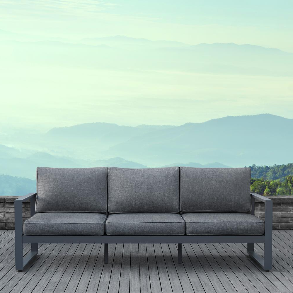2020 Baltic Patio Sofas With Cushions With Real Flame Baltic Gray Aluminum Outdoor Sofa With Gray Cushions (Gallery 6 of 25)