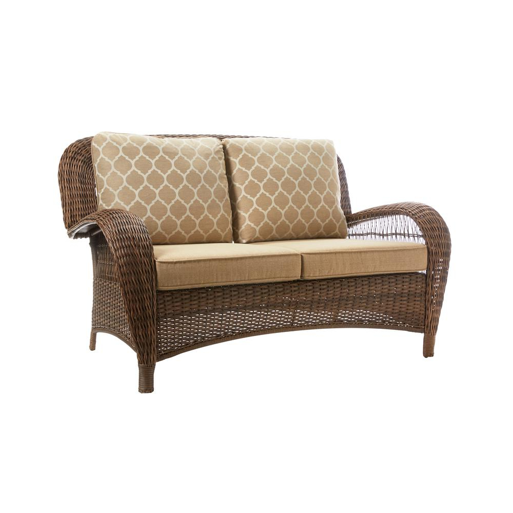2020 Beacon Park Brown Wicker Outdoor Patio Loveseat With Standard Toffee  Cushions Regarding Lyall Loveseats With Cushion (View 2 of 20)