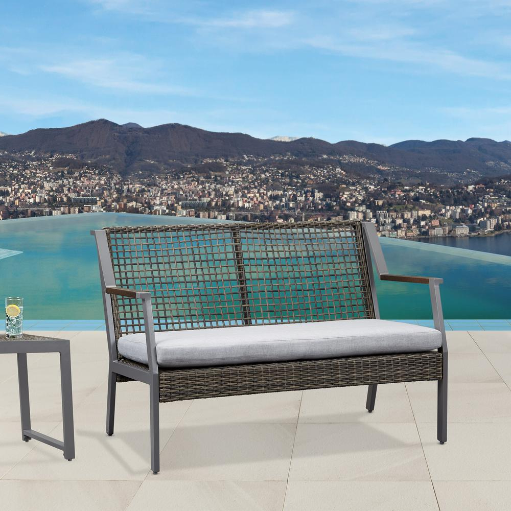2020 Calvin Patio Loveseats With Cushions Regarding Real Flame Calvin Gray Powder Coated Aluminum Outdoor Loveseat With Gray Cushions (View 7 of 20)