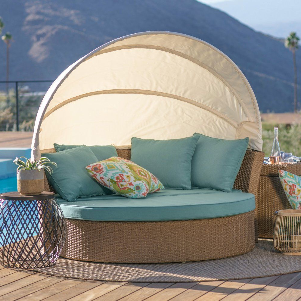 2020 Coral Coast Tanna All Weather Wicker Sunbed With Swivel Intended For Carrasco Patio Daybeds With Cushions (View 15 of 20)