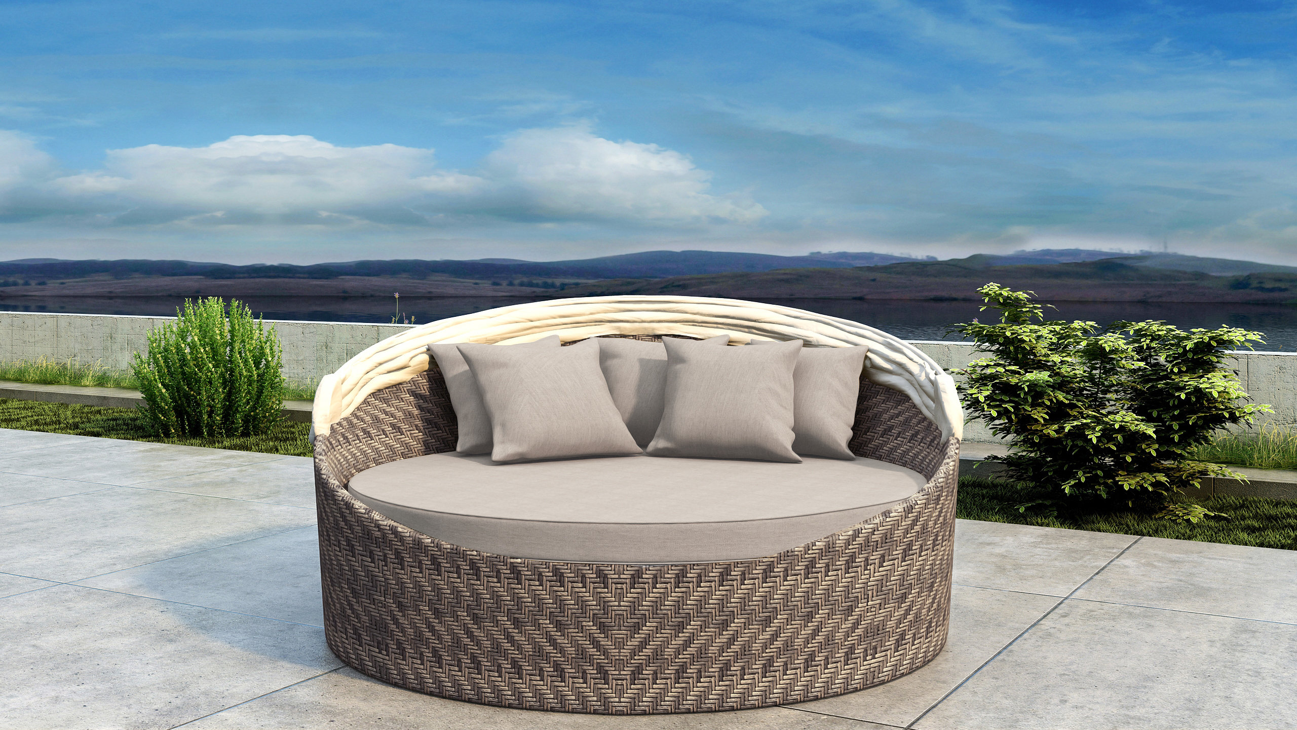 2020 Gillham Patio Daybed With Sunbrella Cushion Inside Grosvenor Bamboo Patio Daybeds With Cushions (Gallery 13 of 20)