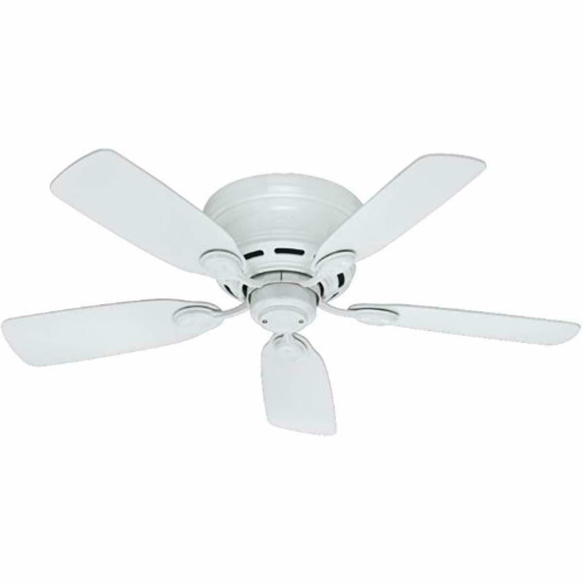 2020 Hunter 51059 Low Profile Iv 5 Blade Ceiling Fan, 42 Inch, White Throughout Low Profile Iv 5 Blade Ceiling Fans (View 3 of 20)