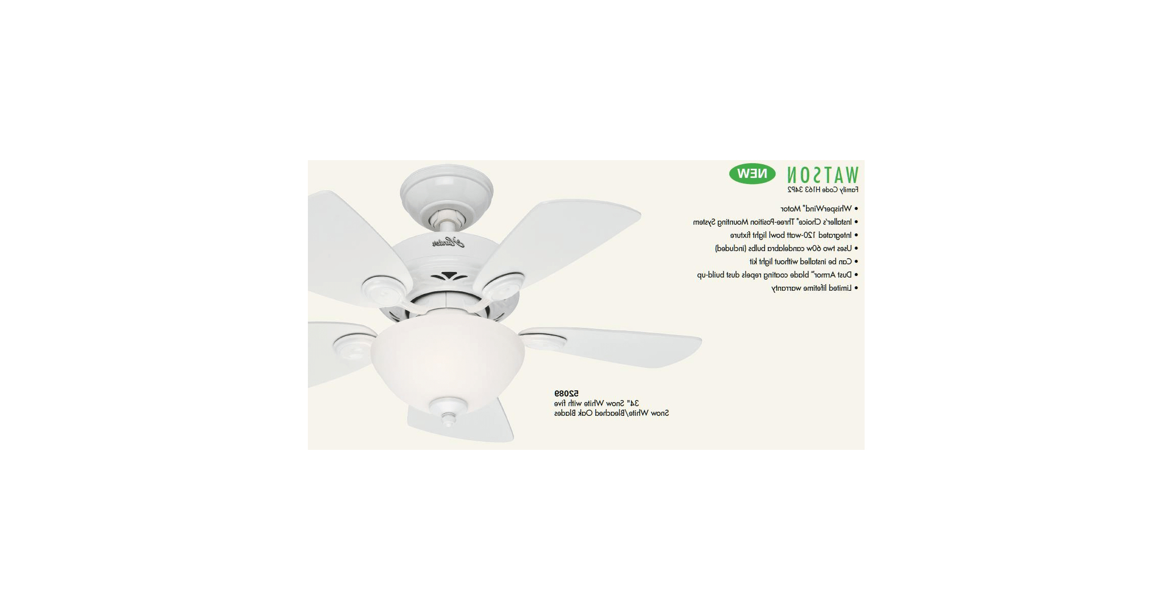 "2020 Hunter 52090 New Bronze 34"" Indoor Ceiling Fan – 5 In Watson 5 Blade Ceiling Fans (View 1 of 20)"