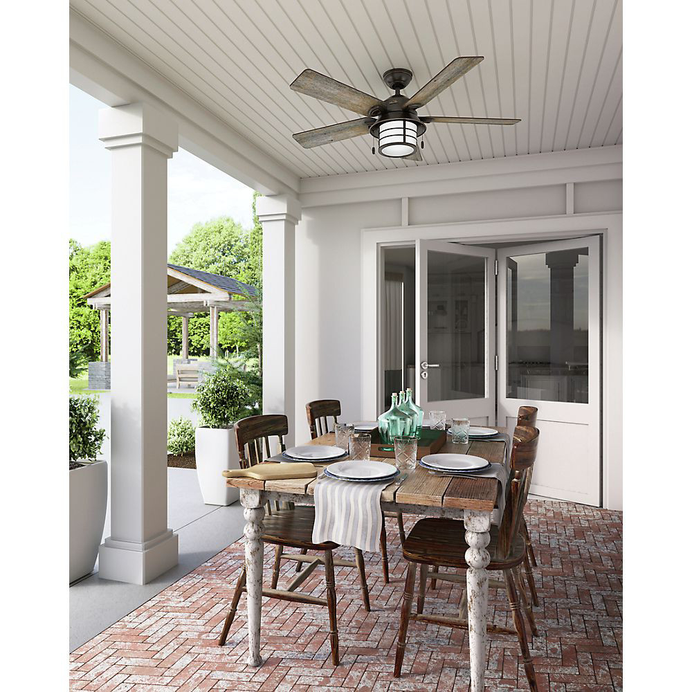 "2020 Hunter 59135 Key Biscayne 54"" Weatherized Zinc Ceiling Fan With 5 Gray Pine Blades Pertaining To Key Biscayne 5 Blade Outdoor Ceiling Fans (View 12 of 20)"