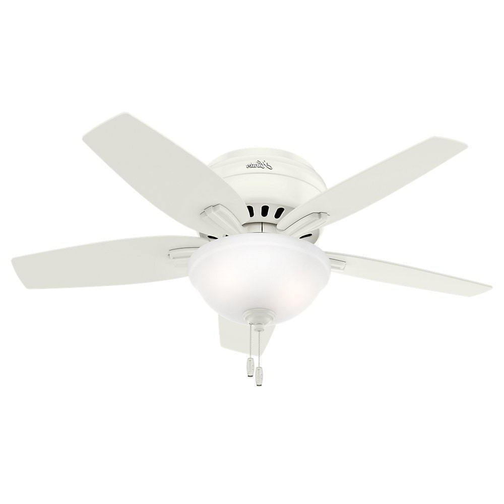 2020 Hunter Fan Newsome Collection 42 Inch Fresh White With 5 Fresh White/ Light Oak Reversible Blades For Newsome 5 Blade Ceiling Fans (Gallery 7 of 20)