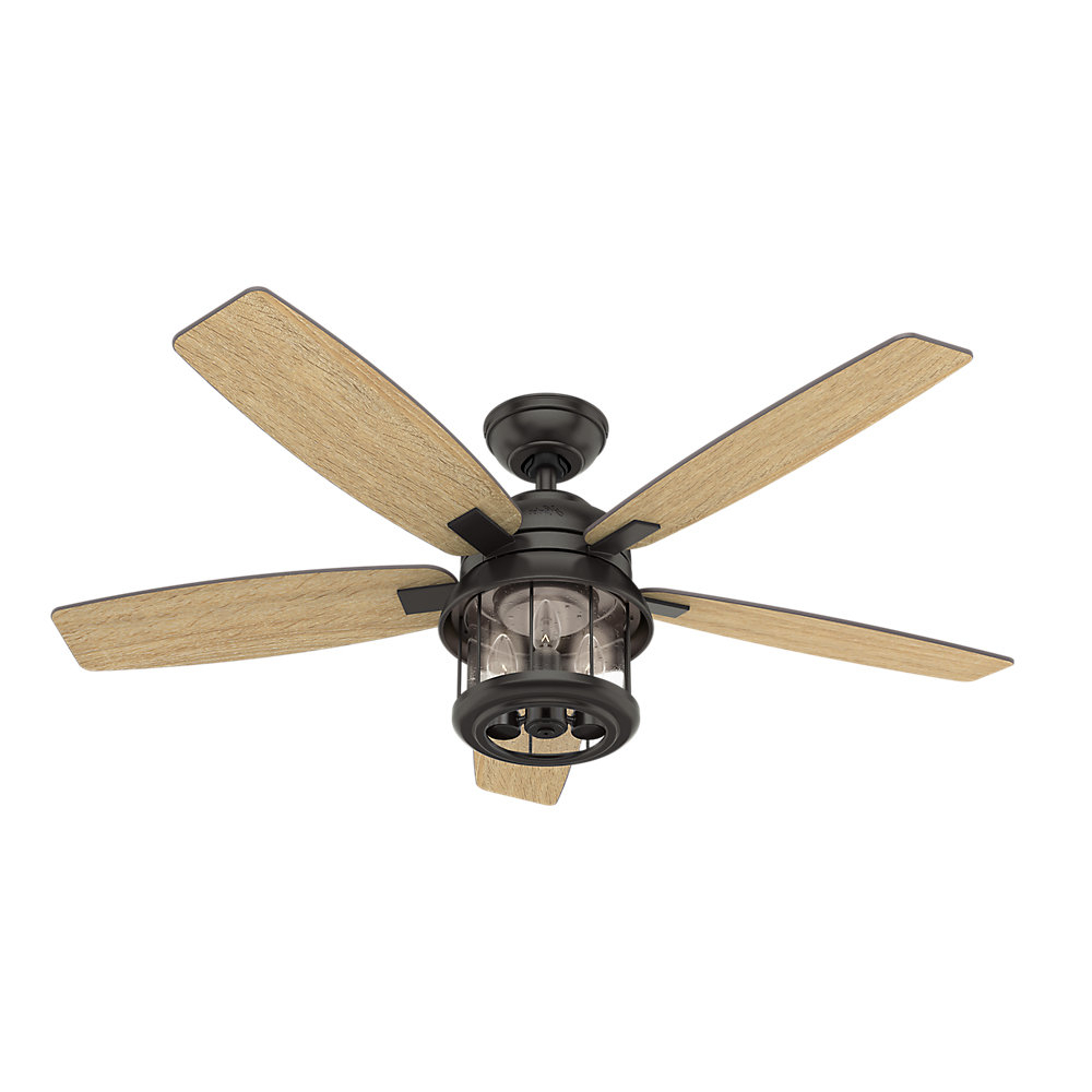 "2020 Key Biscayne 5 Blade Outdoor Ceiling Fans Intended For 52"" Coral Bay 5 Blade Ceiling Fan With Remote, Light Kit Included (View 19 of 20)"