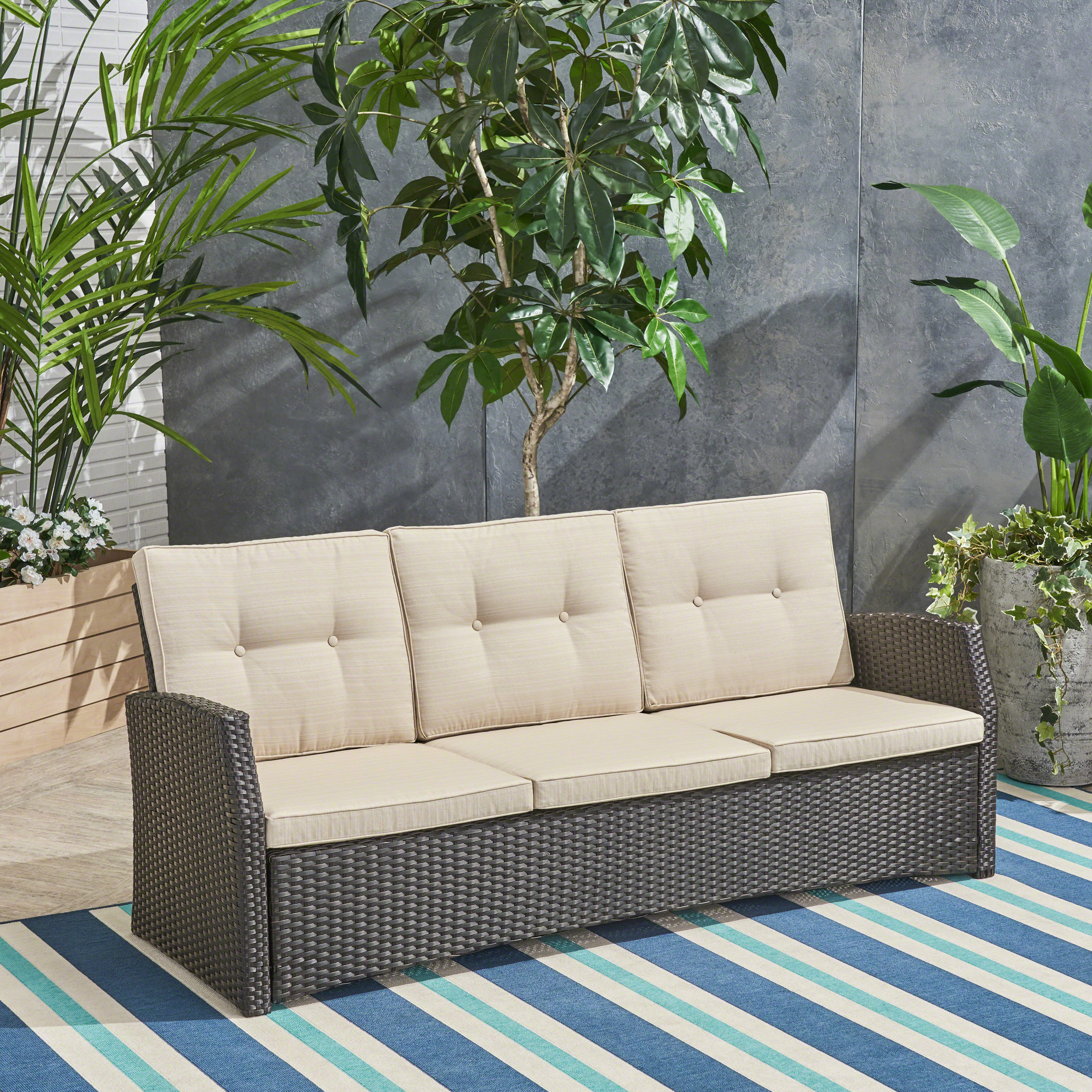 2020 Loganville Patio Sofa With Cushions In Silloth Patio Sofas With Cushions (View 1 of 20)