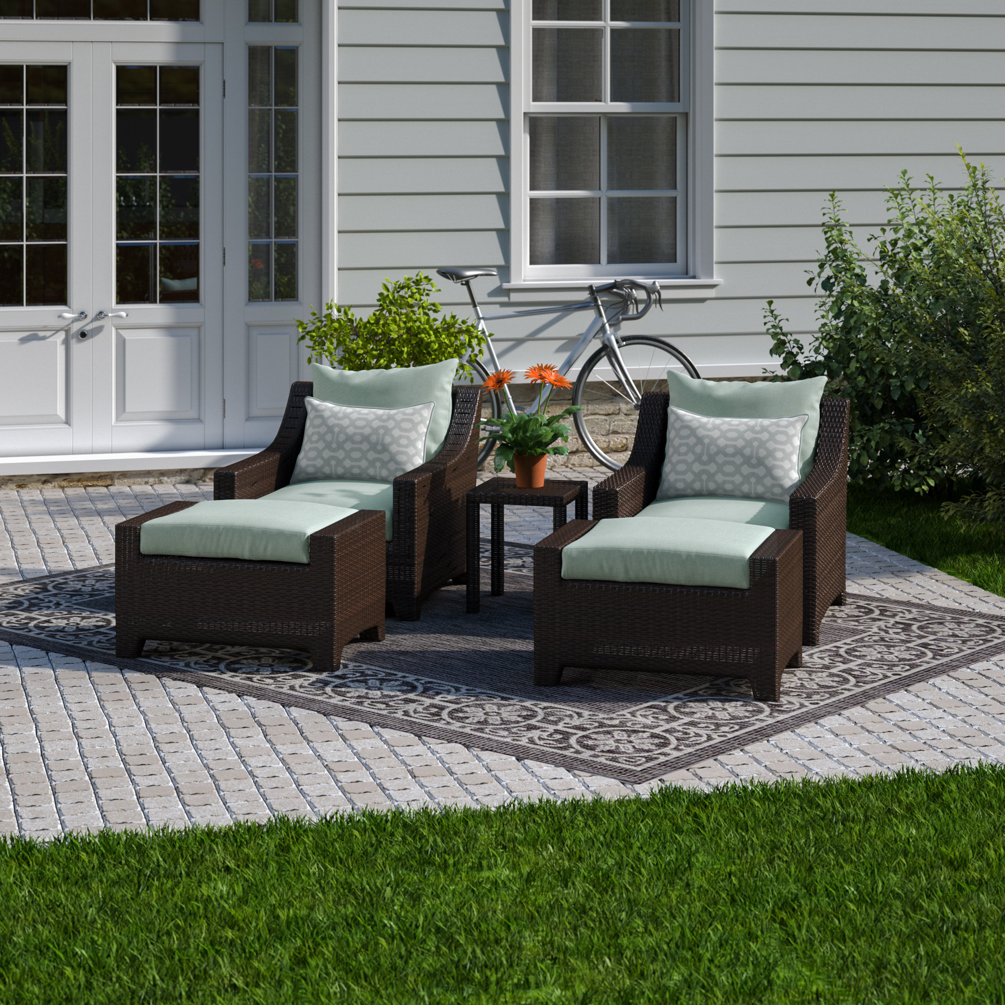 2020 Northridge 5 Piece Conversation Set With Sunbrella Cushions Regarding Northridge Patio Sofas With Sunbrella Cushions (View 1 of 20)