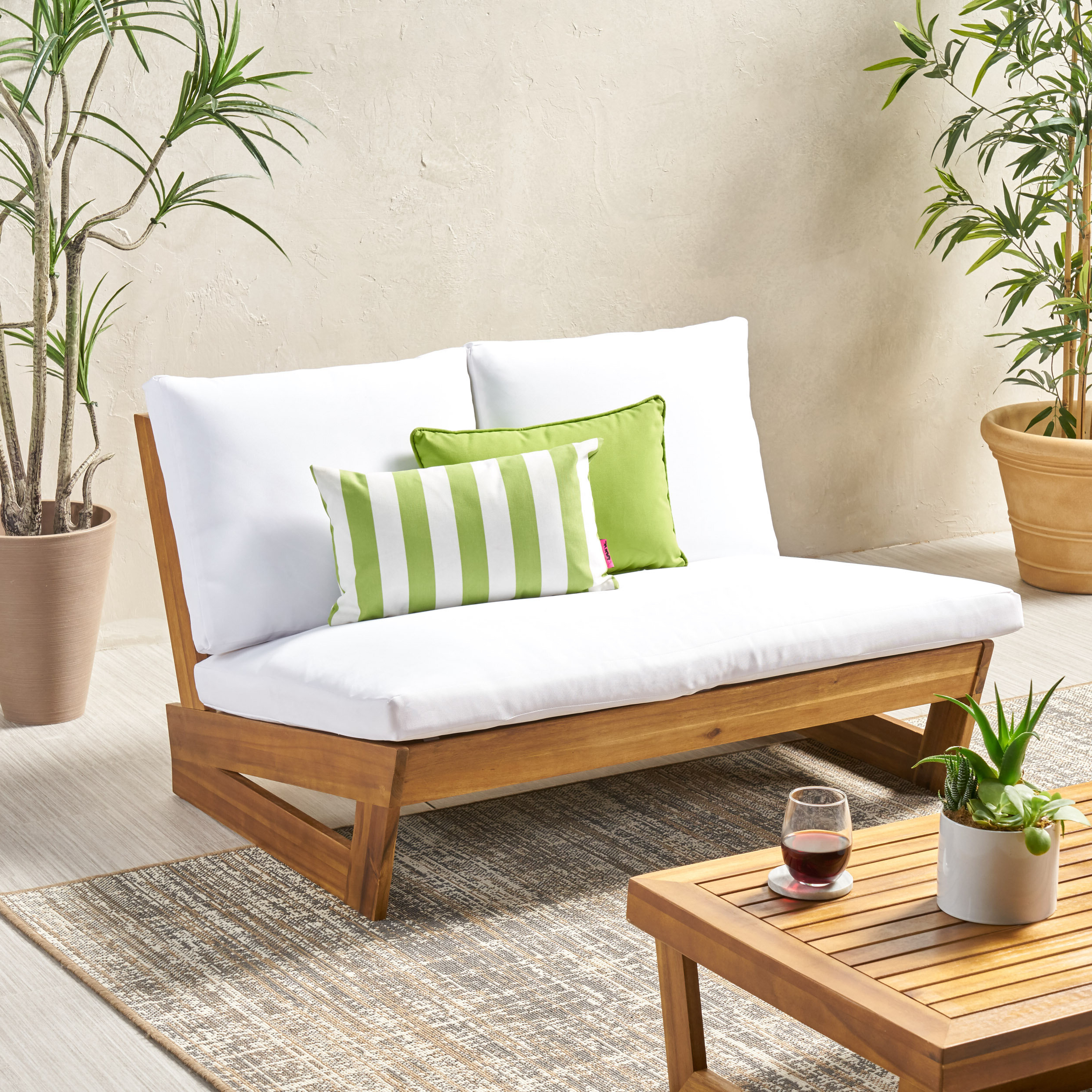2020 Pekalongan Outdoor Loveseat With Cushions With Regard To Bullock Outdoor Wooden Loveseats With Cushions (View 4 of 20)