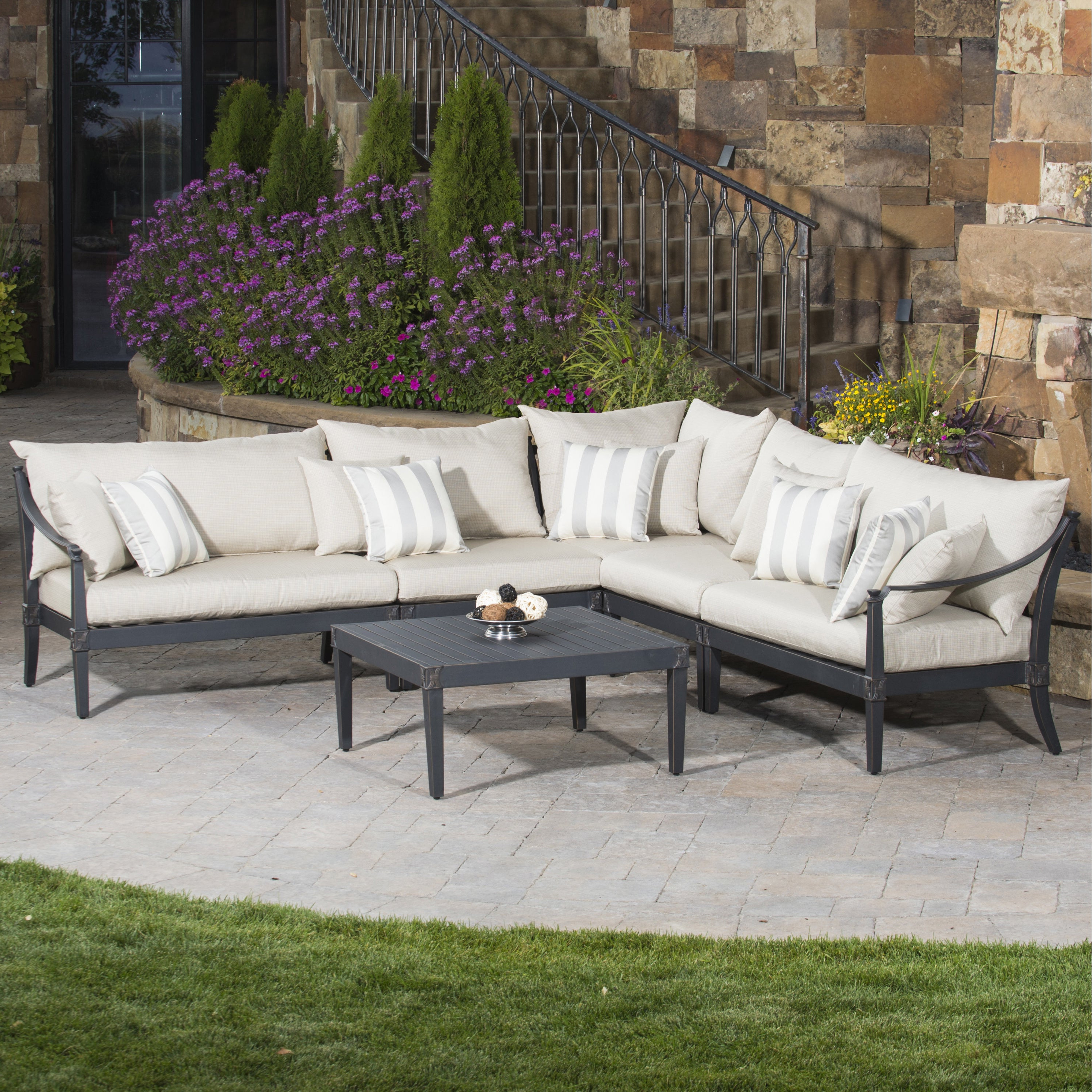 2020 Rst Brands Astoria Aluminum 6 Piece Outdoor Corner Sectional Set With Cushions Inside Tess Corner Living Patio Sectionals With Cushions (View 13 of 20)