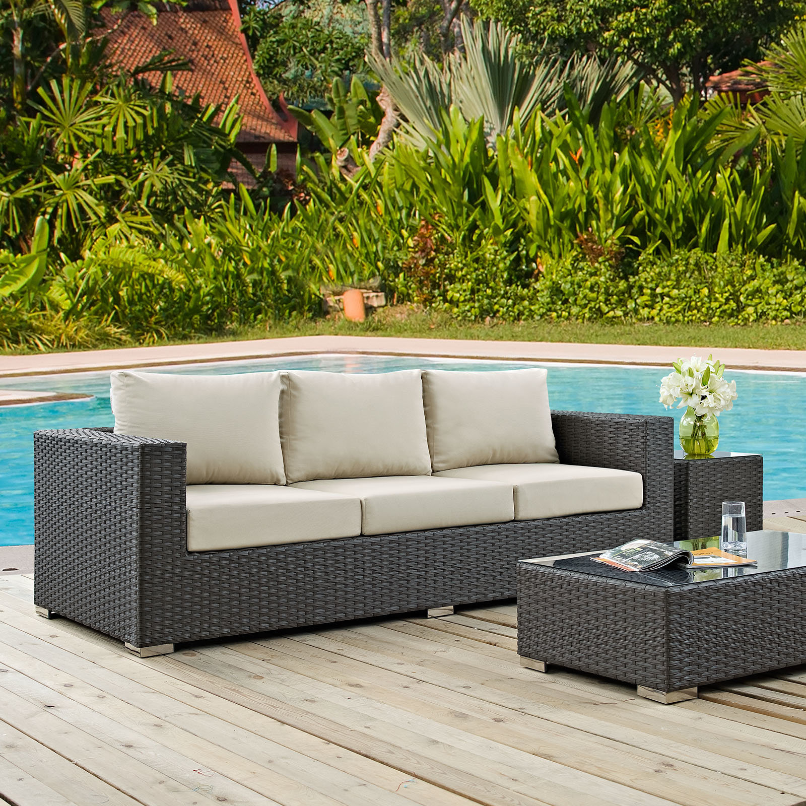 2020 Stapleton Wicker Resin Patio Sofas With Cushions Intended For Tripp Sofa With Cushions (Gallery 11 of 20)