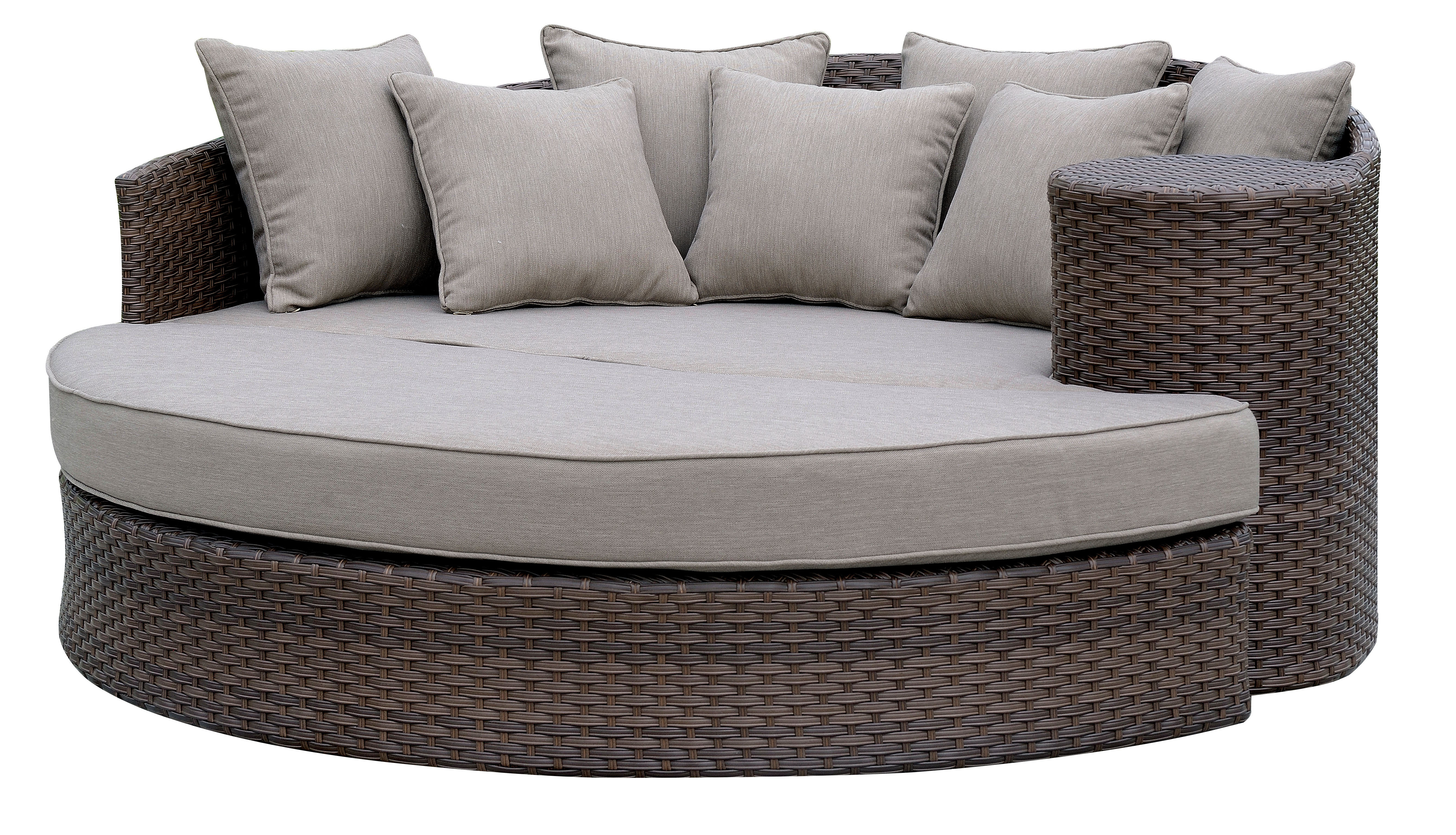 2020 Tripp Patio Daybeds With Cushions Within Whyte Contemporary Patio Daybed With Cushions (View 7 of 20)