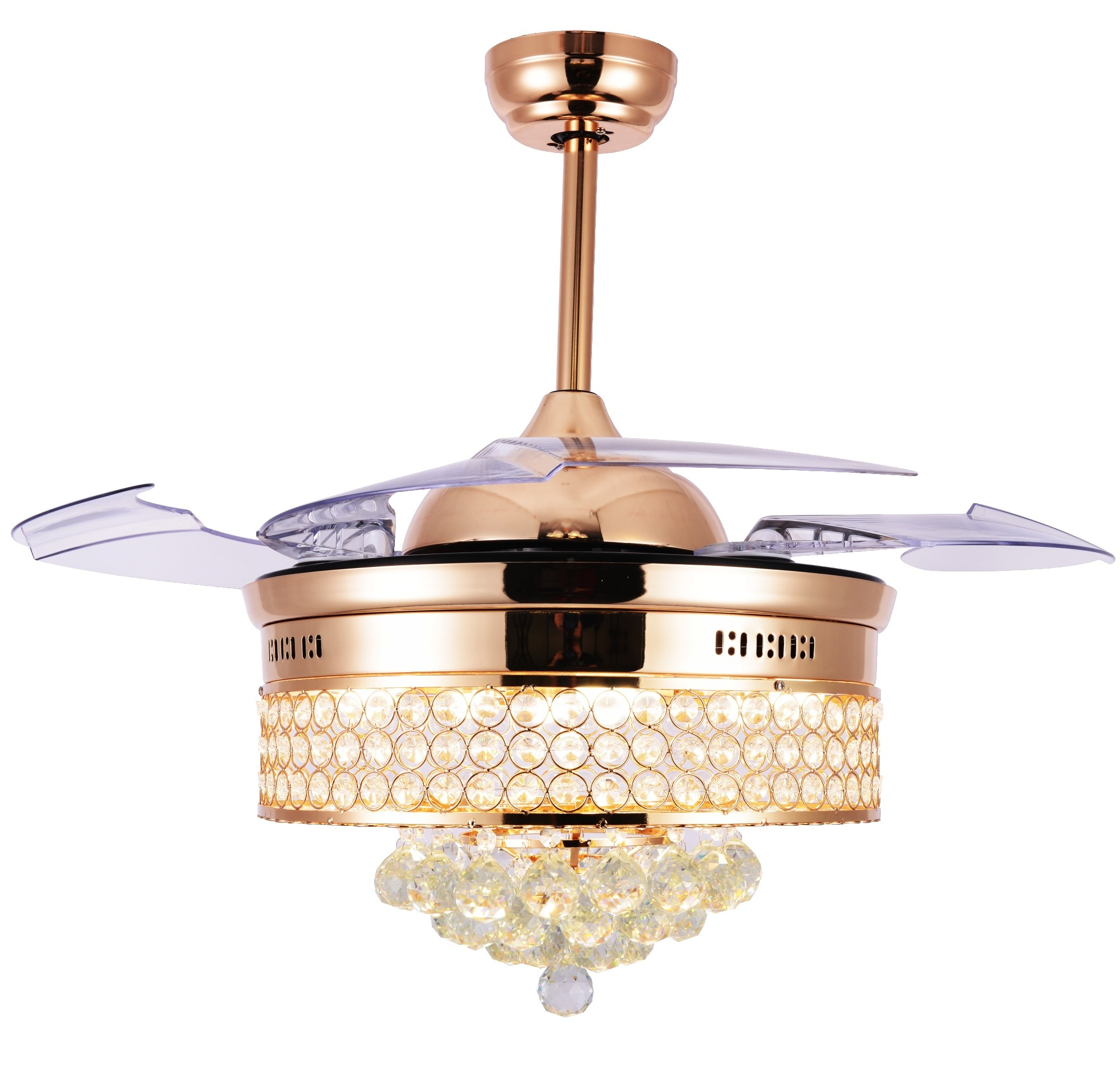 "42"" Crystal Chandelier Ceiling Fan With Remote And Lights With Regard To Most Up To Date Caged Crystal 5 Blade Ceiling Fans (View 10 of 20)"