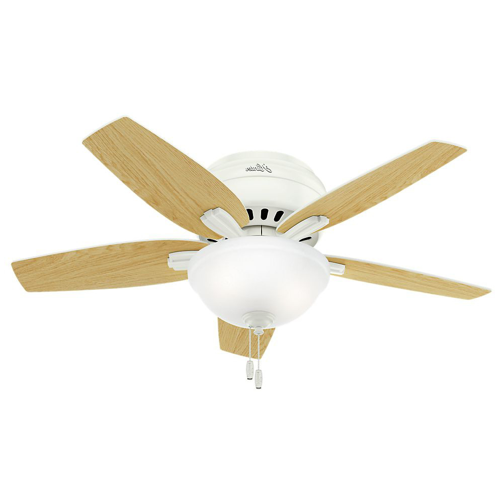 "42"" Hunter Newsome Low Profile Bowl Light Brushed Nickel Ceiling Fan With Light Kit Inside 2020 Newsome Low Profile 5 Blade Ceiling Fans (View 20 of 20)"