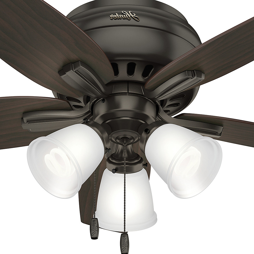 "42"" Hunter Newsome Low Profile With 3 Light Kit Fresh White Ceiling Fan With Light Kit Inside Current Newsome Low Profile 5 Blade Ceiling Fans (View 10 of 20)"