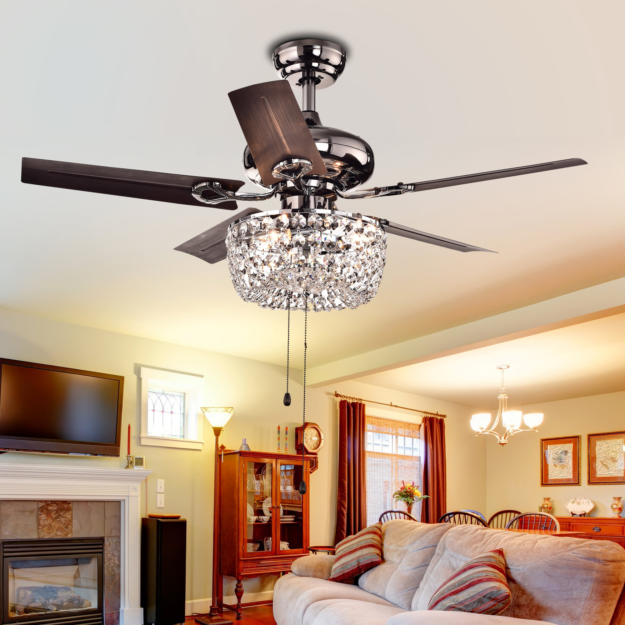 "43"" Aslan 5 Blade Ceiling Fan, Light Kit Included Within Trendy Ravello 5 Blade Led Ceiling Fans (View 1 of 20)"