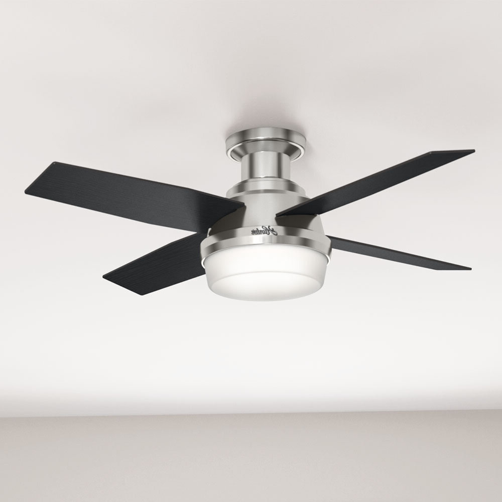 "44"" Dempsey Low Profile 4 Blade Ceiling Fan With Remote Light Kit Included For Current Dempsey Low Profile 4 Blade Ceiling Fans With Remote (View 1 of 20)"