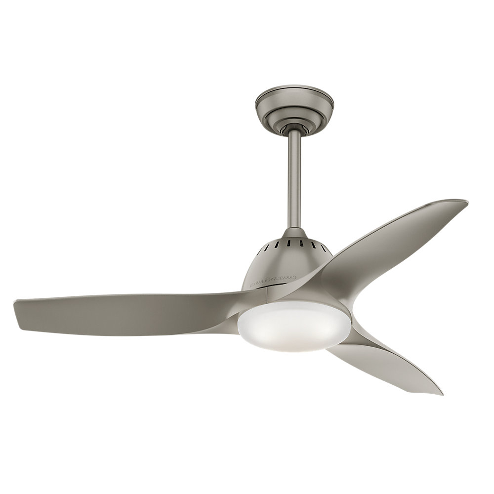 "44"" Wisp 3 Blade Led Ceiling Fan With Remote, Light Kit Included Throughout Popular Wave 3 Blade Led Ceiling Fans With Remote (View 5 of 20)"