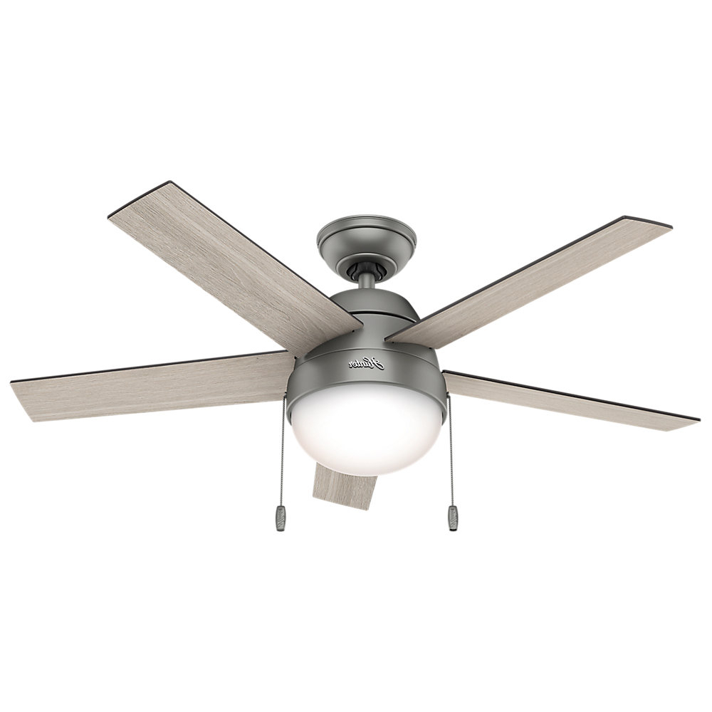 "46"" Anslee 5 Blade Ceiling Fan Light Kit Included With Favorite Anslee 5 Blade Ceiling Fans (View 1 of 20)"
