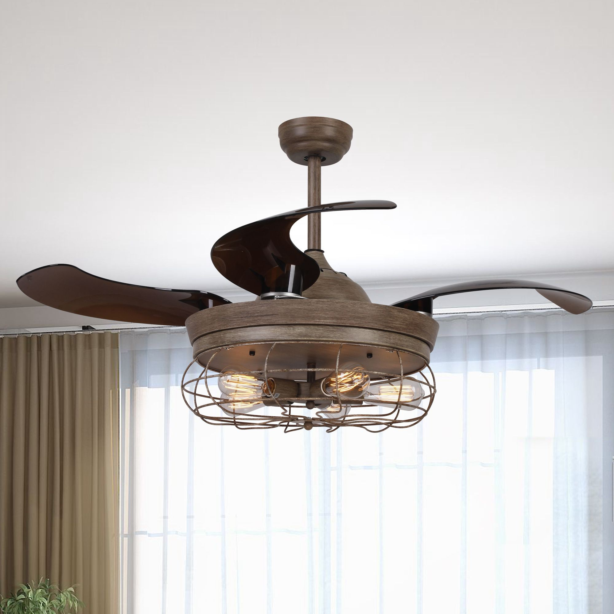 "46"" Benally Industrial Cage Retractable Ceiling Fan With Lights And Remote Control, Weathered Oak Wood Throughout Widely Used Caged Crystal 5 Blade Ceiling Fans (View 14 of 20)"