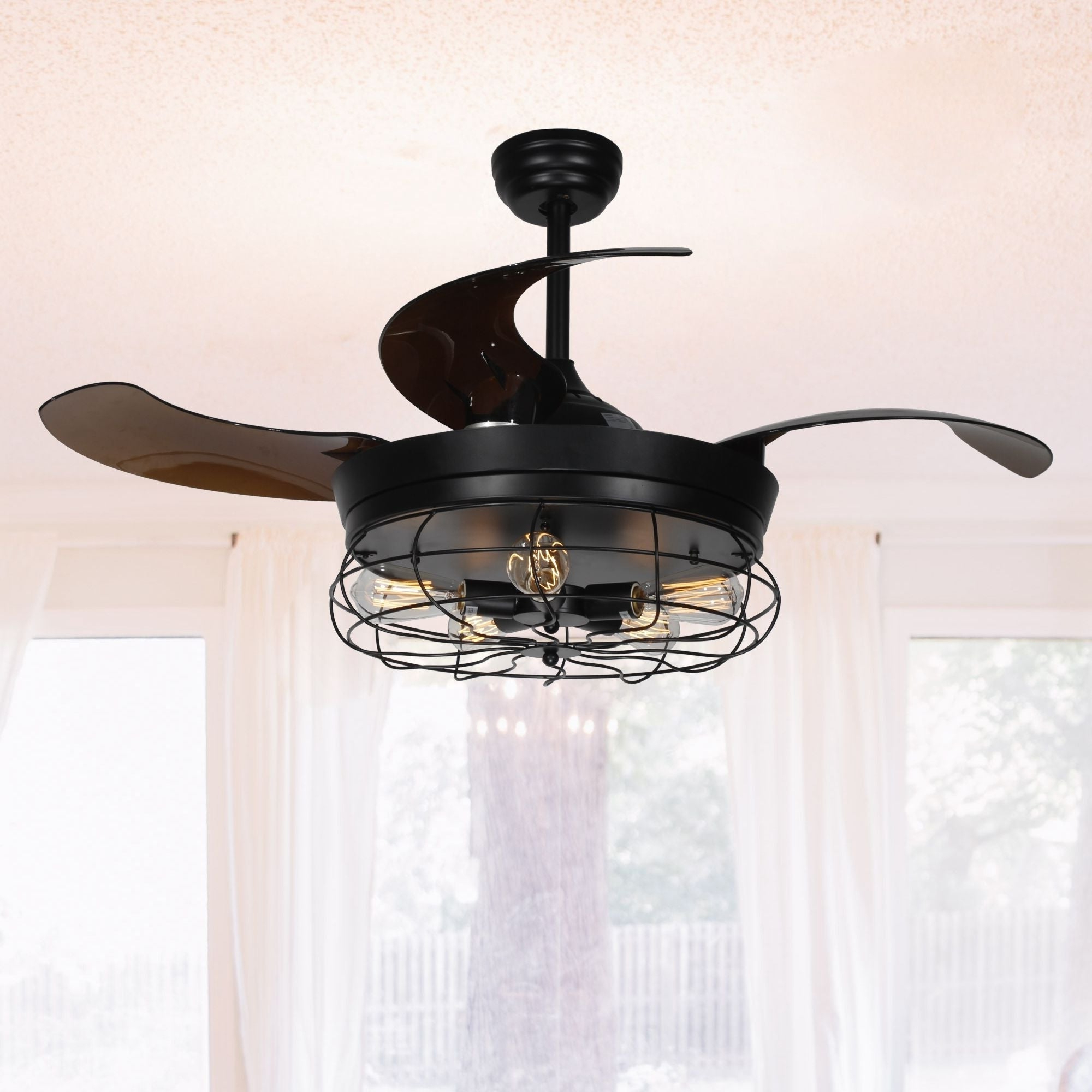 46 Inch Industrial Foldable 4 Blades Ceiling Fans With Shade Regarding Current Ratcliffe 5 Blade Led Ceiling Fans (View 1 of 20)