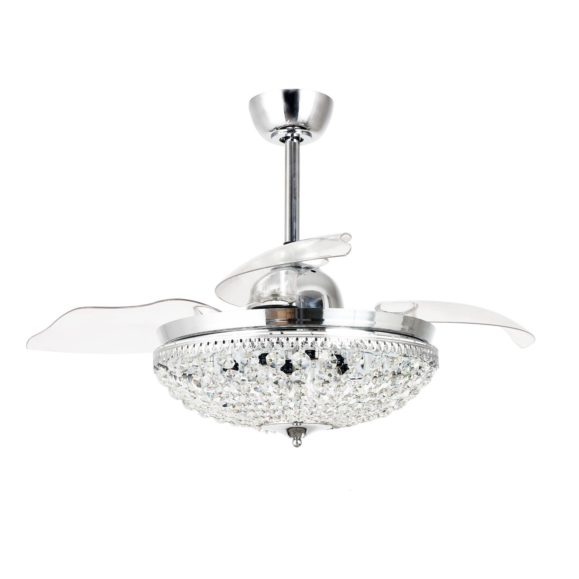 "46"" Servantes Modern Crystal Retractable Ceiling Fan With Lights And Remote  Control, Chrome Inside Preferred Servantes Retractable 4 Blade Ceiling Fans With Remote (View 4 of 20)"