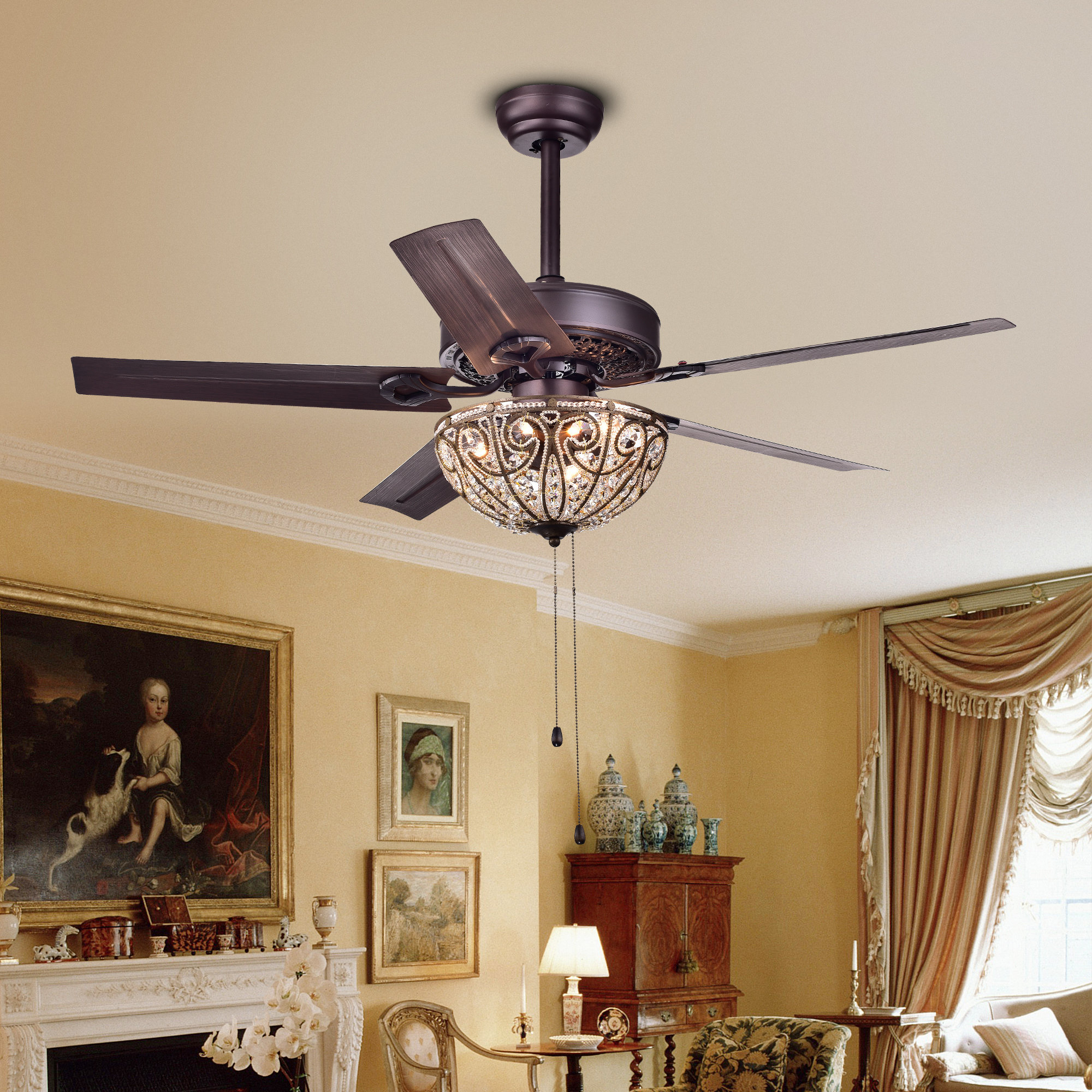 "48"" 5 Blade Ceiling Fan, Light Kit Included Intended For Widely Used Dunaghy 5 Blade Ceiling Fans (View 1 of 20)"