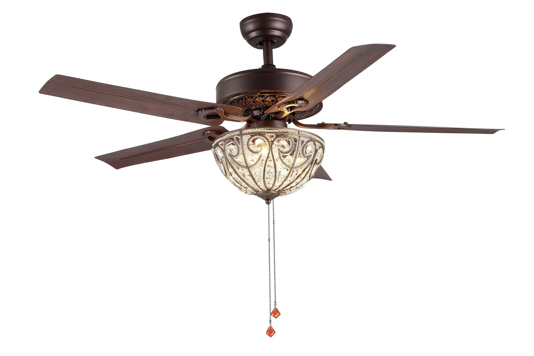 "48"" Transitional Crystal Led Ceiling Fan With Remote, 5 Throughout Famous Caged Crystal 5 Blade Ceiling Fans (View 20 of 20)"