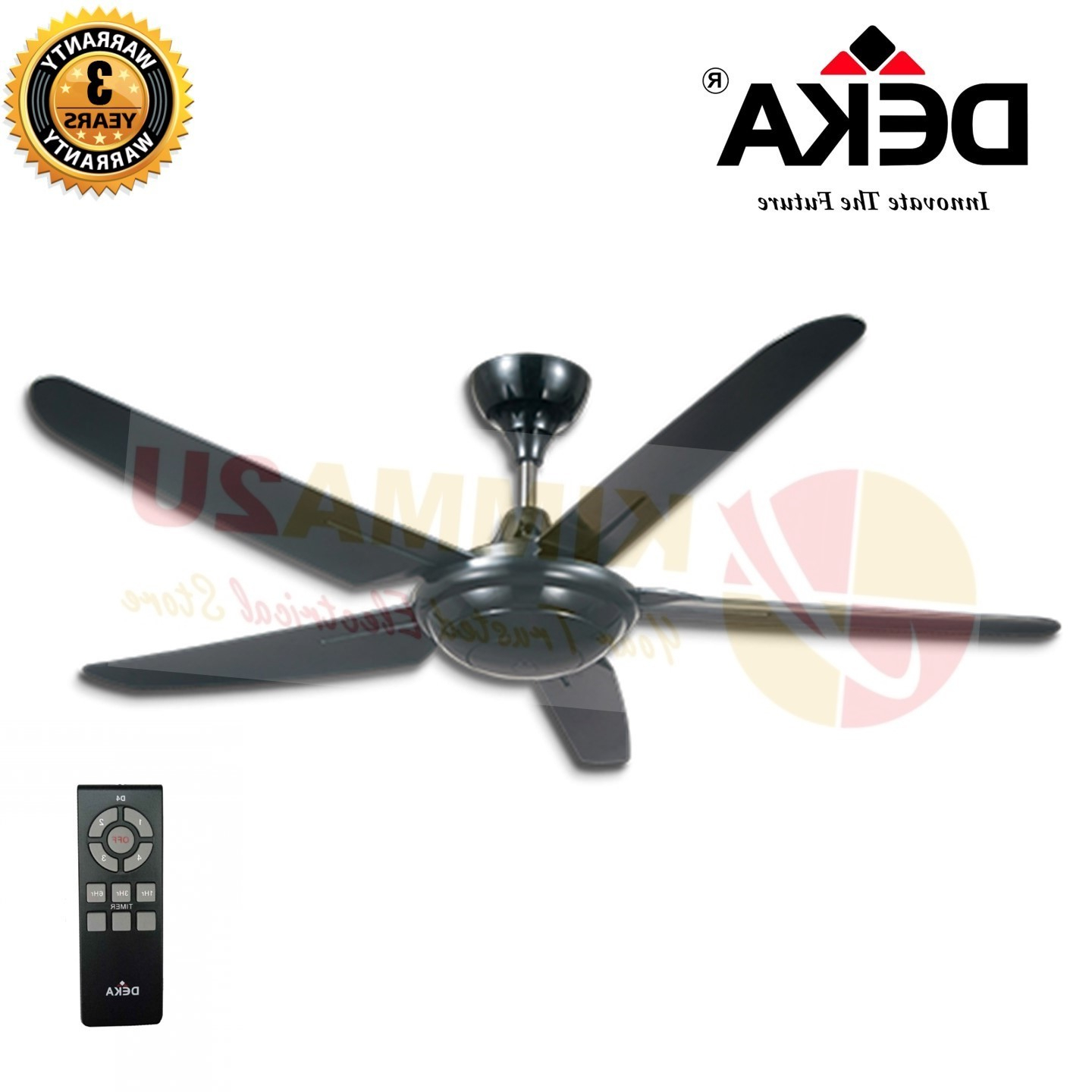 """5 Blade Ceiling Fans With Remote Pertaining To Most Current Deka Kronos F5P 56"""" 5 Blades Ceiling Fan With Remote Control (Gallery 16 of 20)"""