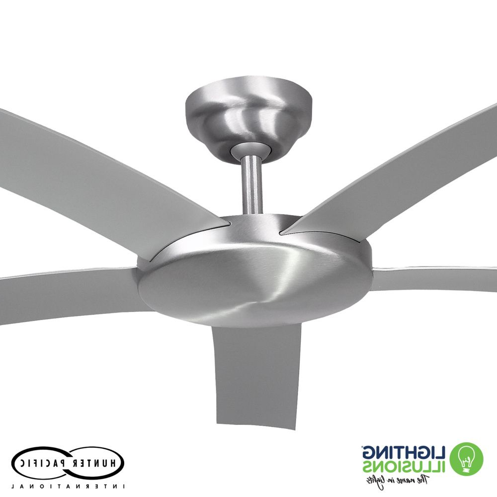 """5 Blade Ceiling Fans With Remote Throughout Most Recent Brushed Aluminium Attitude Indoor/outdoor 52"""" 5 Bladed Ceiling Fan With Remote (View 14 of 20)"""