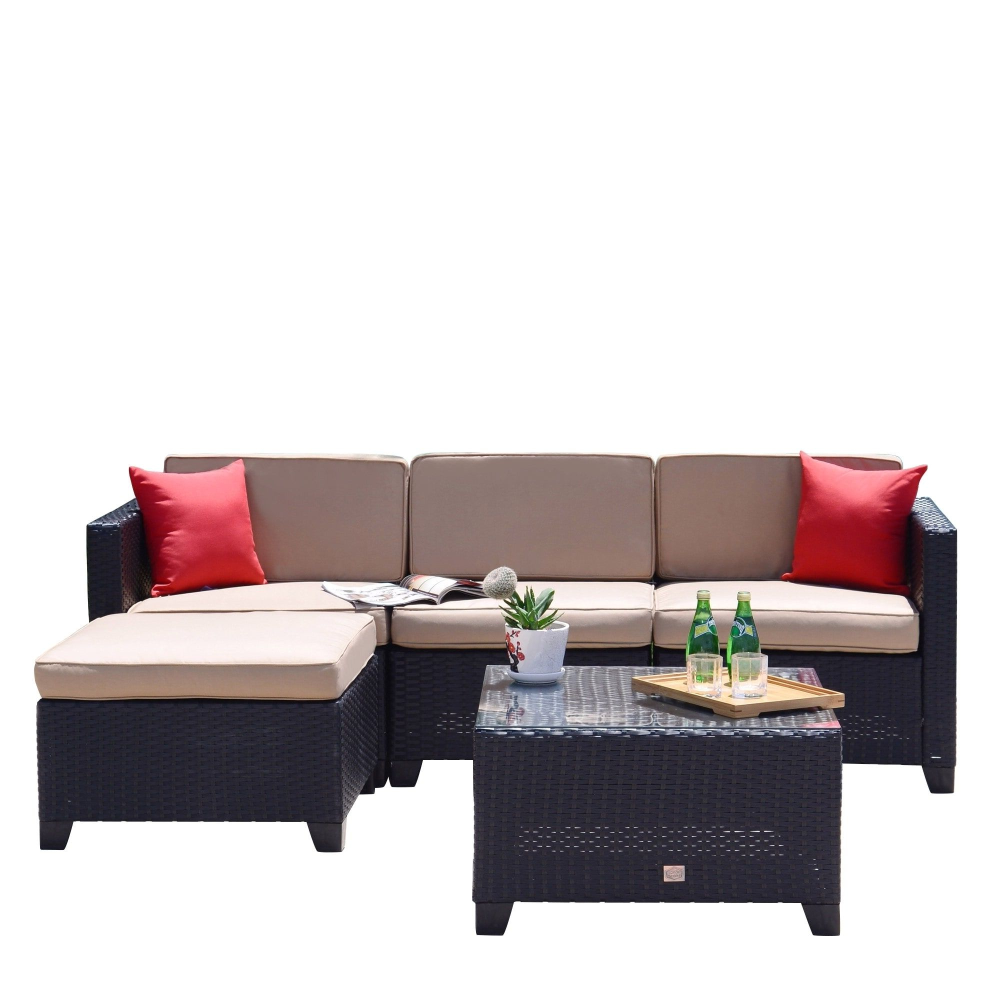 5 Pc Rattan Sofa Set Cushioned Sectional Outdoor Garden With Regard To Most Recent Furst Patio Sofas With Cushion (View 1 of 20)