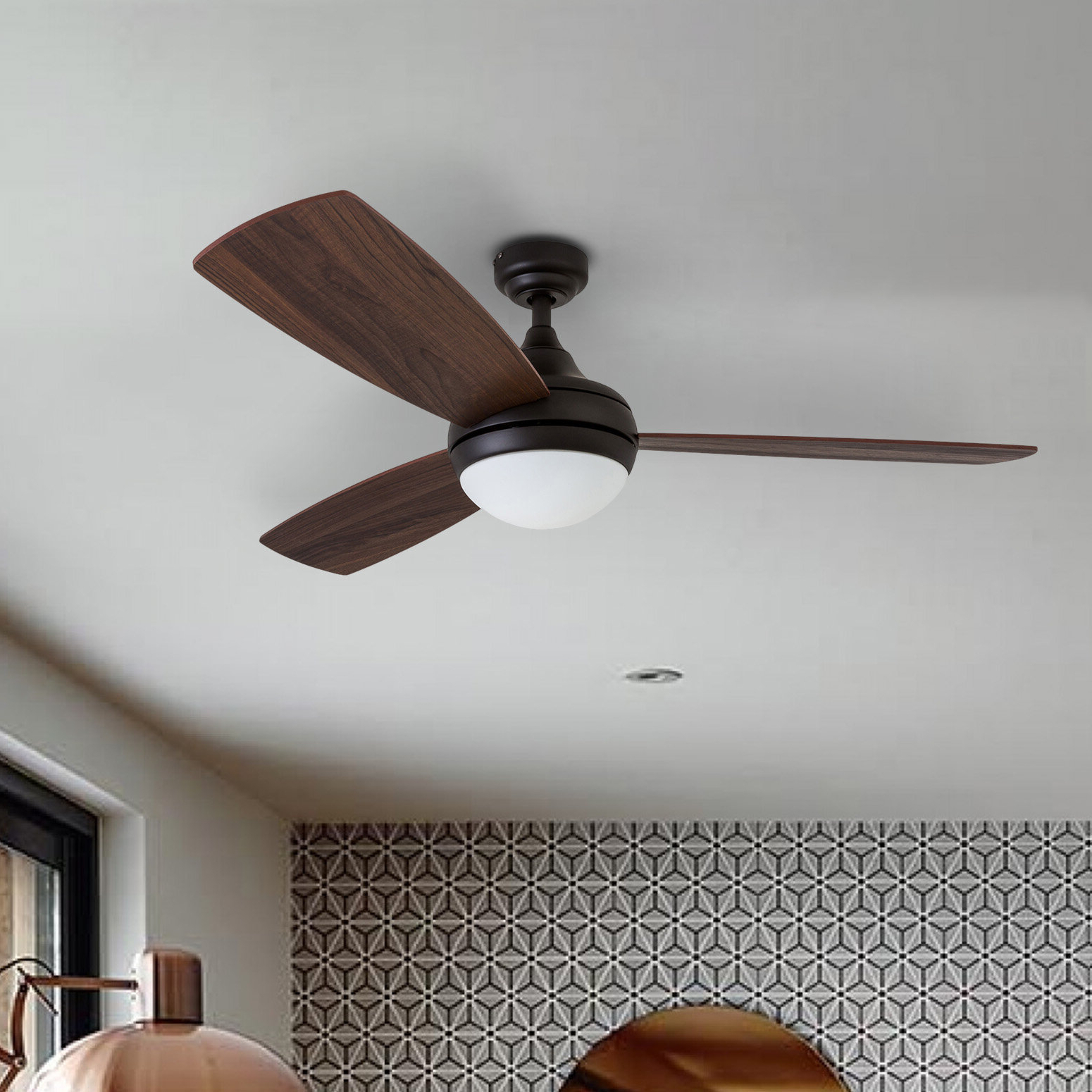 "52"" Alyce 3 Blade Led Ceiling Fan With Remote Control In Best And Newest Heskett 3 Blade Led Ceiling Fans (View 4 of 20)"