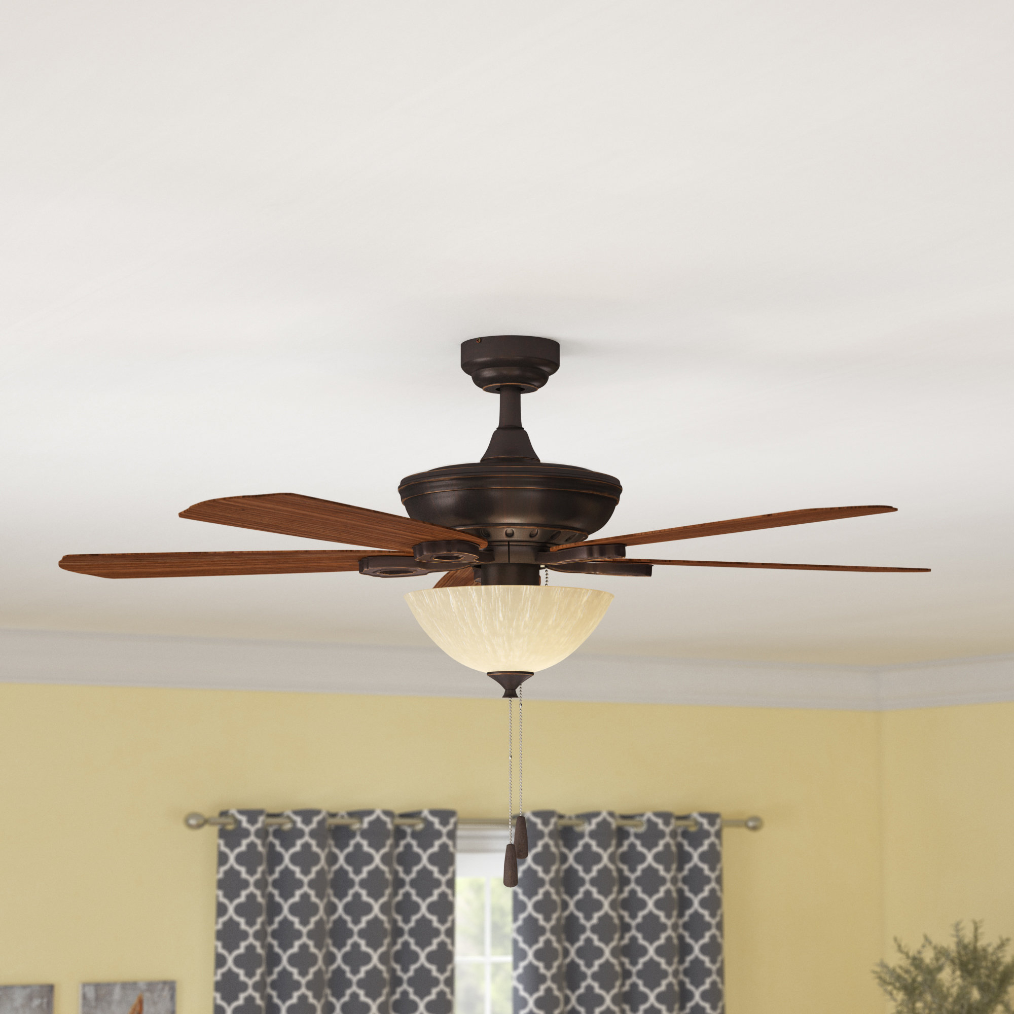 "52"" Auden 5 Blade Led Ceiling Fan Throughout Best And Newest Crumbley 5 Blade Ceiling Fans (View 2 of 20)"
