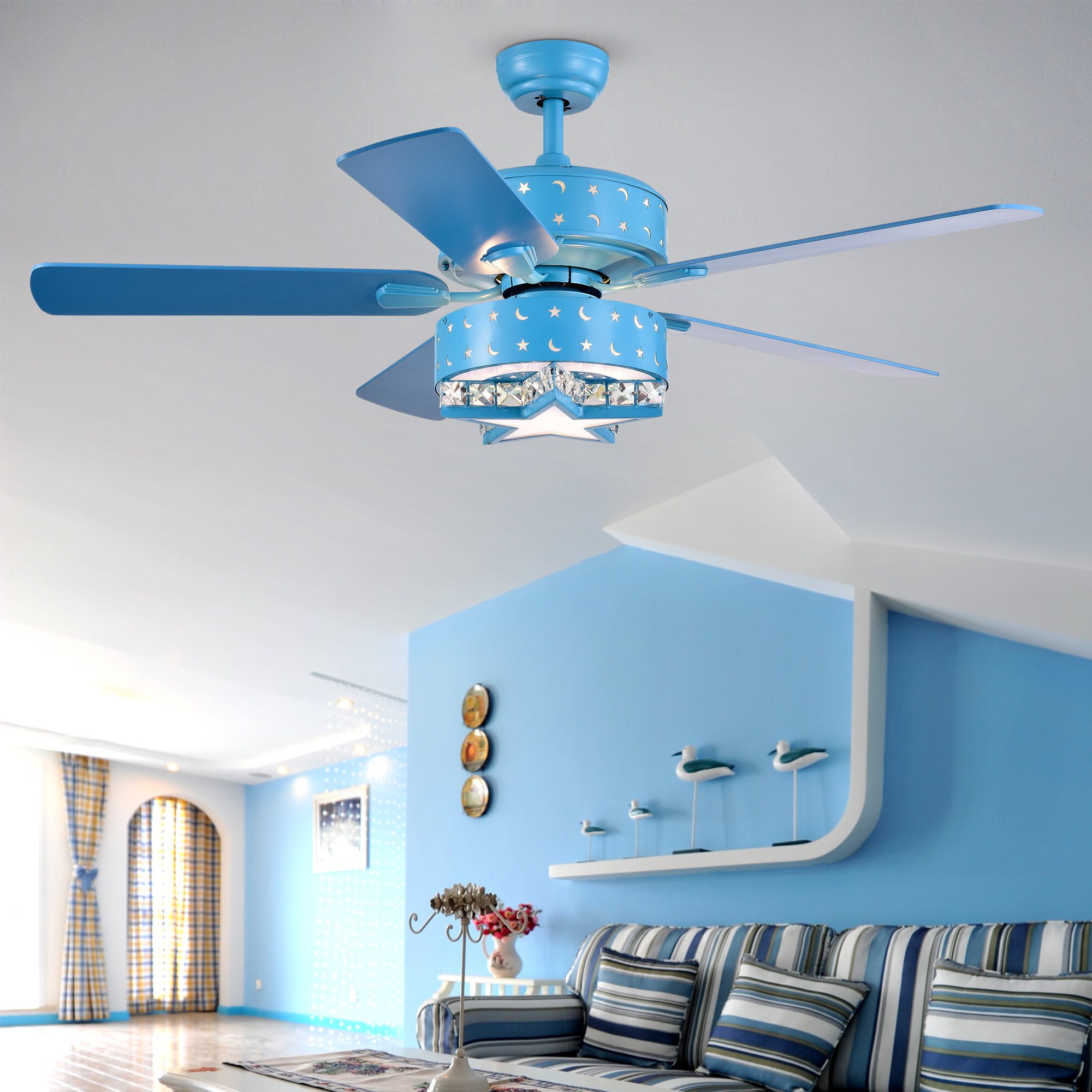 "52"" Boris Star And Crescent 5 Blade Ceiling Fan With Remote, Light Kit  Included Pertaining To Favorite Norah 5 Blade Ceiling Fans (View 2 of 20)"