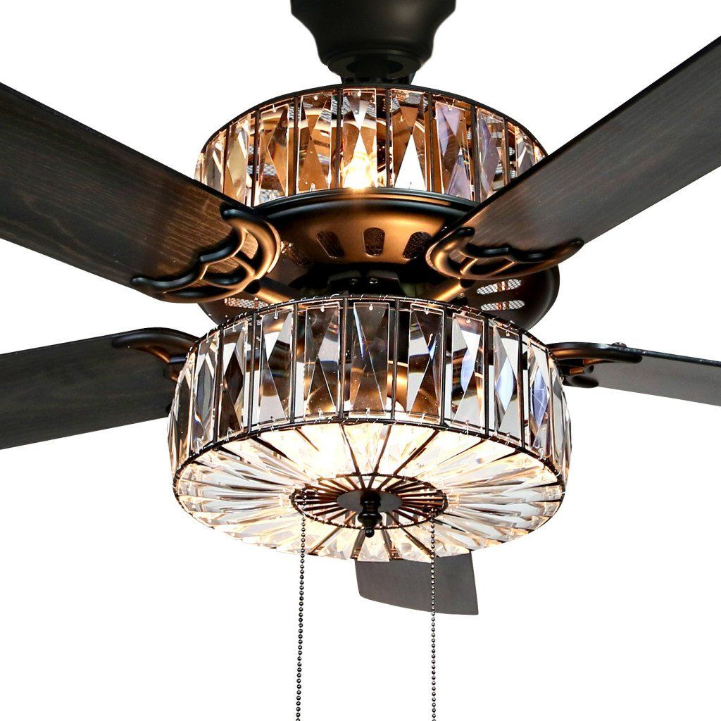 "52"" Caged Crystal 5 Blade Ceiling Fan With Remote, Light Kit In Trendy Tibuh Punched Metal Crystal 5 Blade Ceiling Fans With Remote (View 5 of 20)"