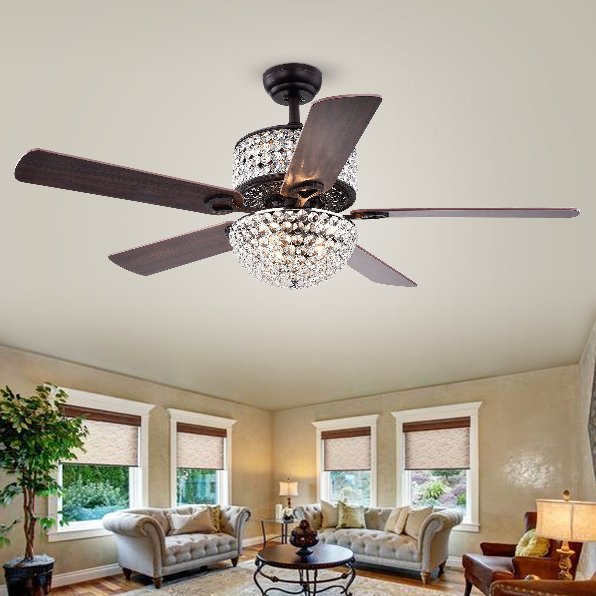 "52"" Caruthersville 5 Blade Ceiling Fan, Light Kit Included With Favorite Caged Crystal 5 Blade Ceiling Fans (View 4 of 20)"