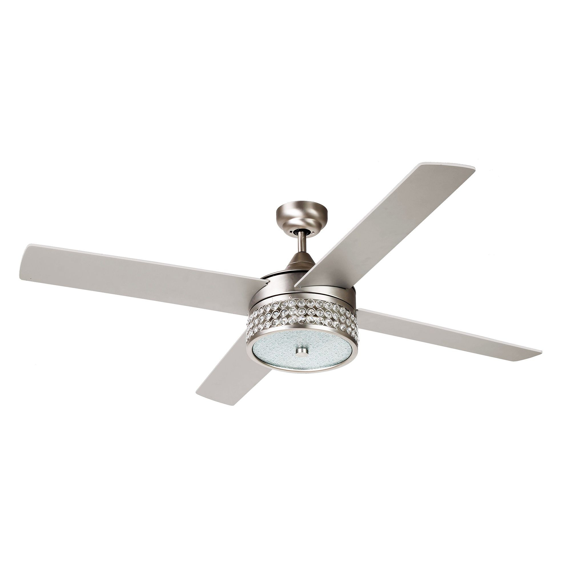 """52"""" Cason Modern Crystal Chandelier Ceiling Fan With Led Light And Remote  Control, 4 Blades, Satin Nickel In Best And Newest Cason 4 Blade Ceiling Fans (View 2 of 20)"""