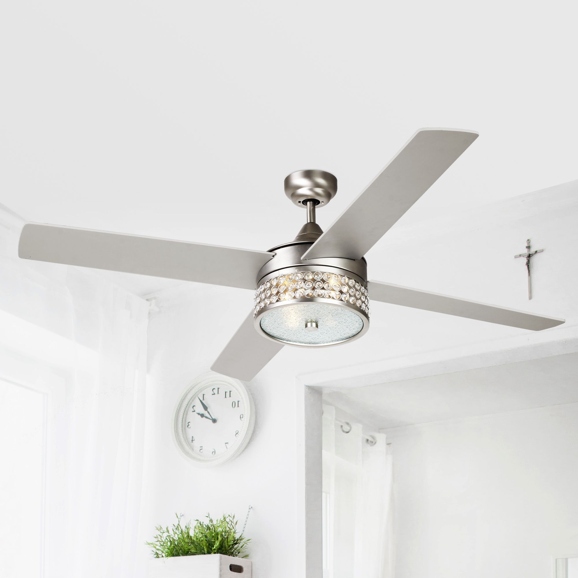 """52"""" Cason Modern Crystal Chandelier Ceiling Fan With Led Light And Remote Control, 4 Blades, Satin Nickel With Most Recently Released Cason 4 Blade Ceiling Fans (View 3 of 20)"""