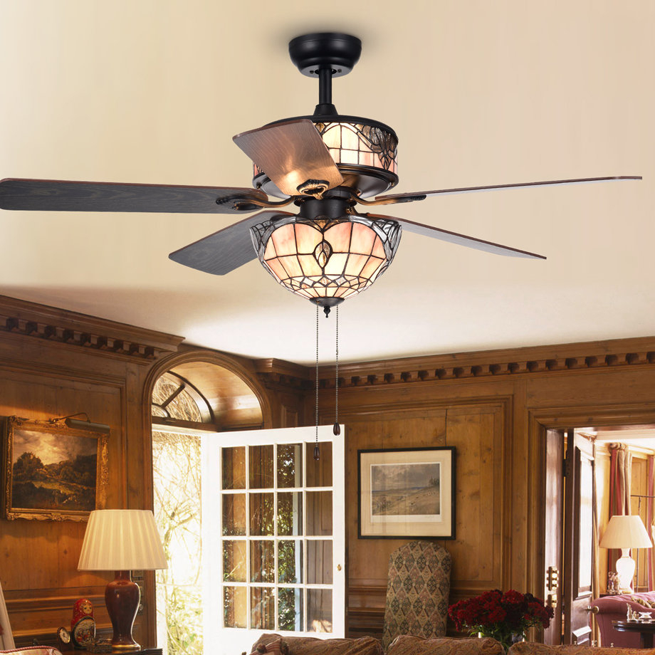 """52"""" Cerny Baroque 5 Blade Ceiling Fan Throughout Famous Quebec 5 Blade Ceiling Fans (View 5 of 20)"""