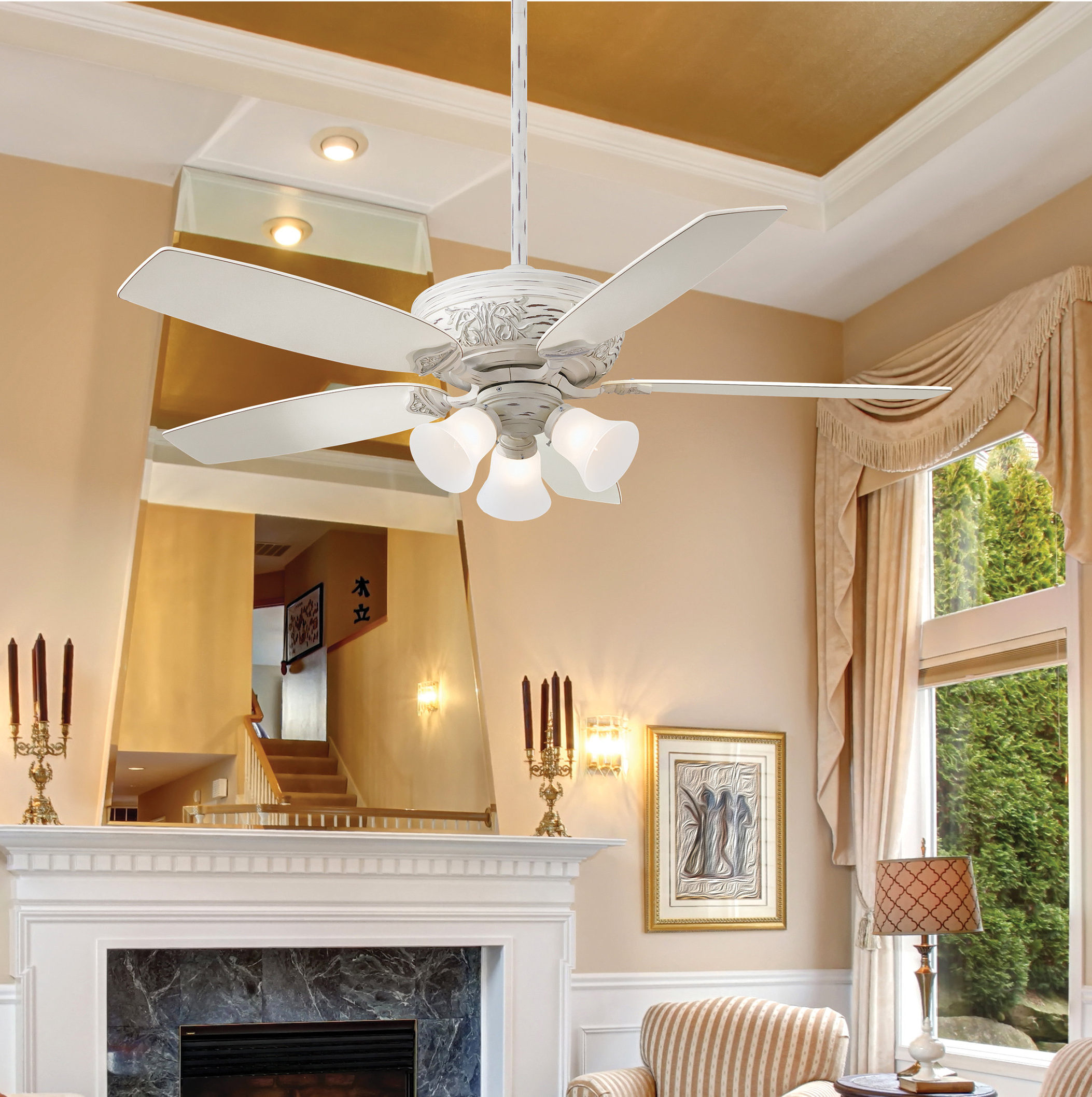 "52"" Classica 5 Blade Gallery Edition Provencal Blanc Led Ceiling Fan With Remote For Favorite Classica 5 Blade Ceiling Fans (View 4 of 20)"